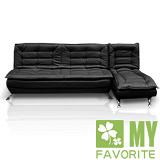 最愛傢俱-安格斯L型沙發床/椅(黑色)