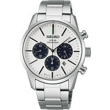 SEIKO SPIRIT SOLAR 時尚玩家計時腕錶-銀 V175-0BJ0S