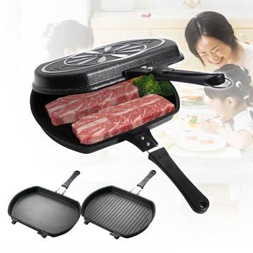 【買一送二刀】《鉅豪》韓國大理石不沾煎烤鍋