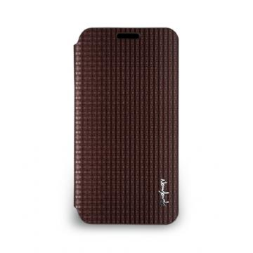 Galaxy S5- 絲光格紋皮套- 古銅棕