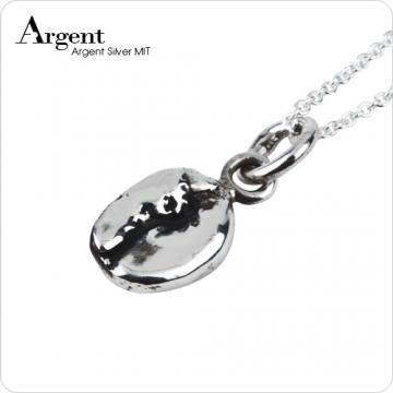 【ARGENT銀飾】迷你系列「咖啡豆」純銀項鍊(染黑款)