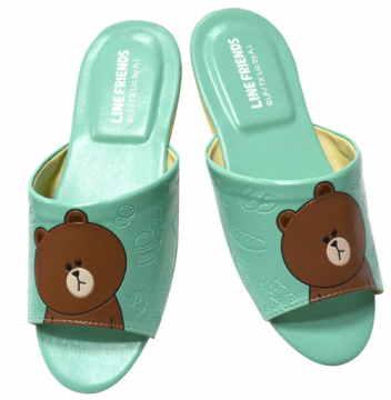 (e鞋院)LINE明星Brown-熊大室內皮拖鞋