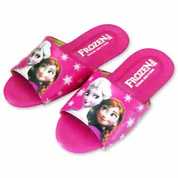 (e鞋院)迪士尼冰雪奇緣兒童室內拖鞋-艾莎與安娜 (桃)