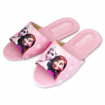 (e鞋院)迪士尼冰雪奇緣兒童室內拖鞋-艾莎與安娜 (粉)