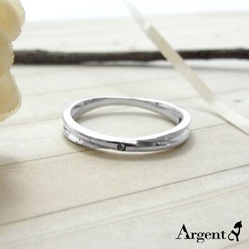 【ARGENT安爵銀飾精品】美鑽系列「熱情擁抱(女.白鑽)」純銀戒指 單面有鑲鑽 單面無鑽 一戒兩戴