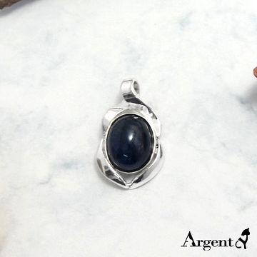 【ARGENT銀飾】天然石系列「捲花寶鏡(堇青石)」純銀項鍊