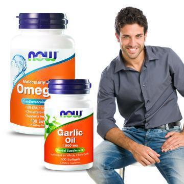 天天活力不缺席NOW健而婷-強身代謝套組(Omega-3深海魚油+大蒜精)