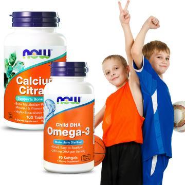 NOW健而婷-雙效鈣犀利套組(加強鈣+兒童魚油DHA)