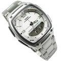 CASIO卡西歐 雙顯錶 鬧鈴 碼錶 倒數計時 世界時間 方型 不銹鋼 白面 37mm 男錶 AW-81D-7A