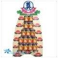 A11 -五層金獅水蜜桃罐頭座(對)罐頭塔精選:喪事罐頭塔、弔唁罐頭塔-罐頭塔-綜合食品.飲料罐頭塔《一對》