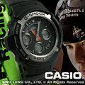 CASIO G-Shock 手錶專賣店 國隆 AW-590-1A KAWASAKI GP雙顯錶(另AW-591 AW-591MS五月天代言)開發票 保固一年