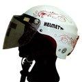 K077-輕巧半罩式安全帽雪帽(蝶王彩繪圖案)+超耐磨耐衝鏡片白/紅色(尺寸:55,5~58,5cm)