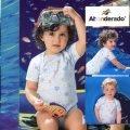 【西班牙 Abanderado】(b905)嬰兒連身衣短袖淺藍peace特價 (尺寸36)