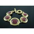 【~COACH~】美國原裝 COACH 高質感 新款金色深紫色相間特殊造型 時尚手環