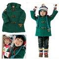 日本官網款綠色連帽牛角扣保暖外套(110公分)超值優惠特價