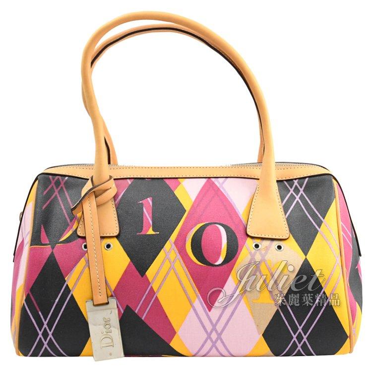 【展示品 超低優惠】Christian Dior 彩色字母菱格圖案肩背包現金價$16,800 來電洽詢