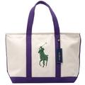 【POLO Ralph Lauren】經典大馬手提包大型-亮紫(共三色) 405102490-NPR