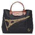 LONGCHAMP 巴黎鐵塔紀念款無拉鍊摺疊購物包(黑) 2704346-700