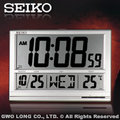 SEIKO 精工掛鐘 國隆 QHL056S 數位式座掛兩用鐘 溫度顯示 科技金屬質感 含稅價