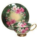 【預購】G&W - 綠底牡丹2入杯盤組 - GW-323,骨瓷,骨瓷杯,骨瓷壺,西式杯盤,花茶杯,陶瓷杯