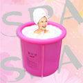 《現貨免運費》韓版[水美顏]折疊浴缸/折疊浴桶 泡澡桶/沐浴桶 粉紅色70*77cm(年後到貨)