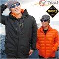 【Fox Friend 】男 GORE-TEX二件式外套.保暖外套.雪衣.連帽可拆.適登山.健行.出國旅行/黑/橘 # 1089 B
