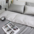 【OLIVIA 】 日式素色簡約 BEST 1鐵灰X銀灰/雙人薄床包兩用被套四件組