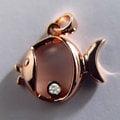 海洋系-小小魚造型真鑽墜鍊-925純銀精鍍玫瑰金