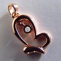 自然系-翩翩蝴蝶造型真鑽墜鍊-925純銀精鍍玫瑰金