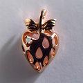 自然系-可愛草莓造型真鑽墜鍊-925純銀精鍍玫瑰金