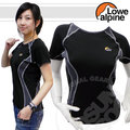 【義大利-LOWE ALPINE】女 RP超音雙纖圓領短袖排汗衣.抗UV.快速排汗.透氣.輕量化/黑 L3213600