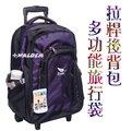 《葳爾登》COUGAR捷豹20吋後背拉桿兩用背包可背可拉旅行箱登機箱旅行袋可背式行李箱拖輪袋電腦拉桿背包7016紫色L