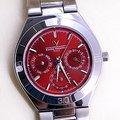 《一刻千金》Emilio Valentino 范倫鐵諾 時尚菁英 三眼不鏽鋼石英錶-水晶鏡面-炫紅色