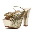 【ALicE】Y131-2-0 盛夏香氣閃亮蝴蝶結粗跟鞋-金色