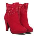 【ALicE】Y184-6-0 『粉領魅惑』滿鑽法國絨靴-紅色