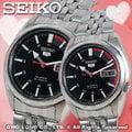 CASIO 手錶專賣店 國隆 SEIKO 精工錶 SYMA43K1女 SNK375K1男 黑面雙色機械情人對錶 自動上鏈 一年保固 可開發票