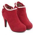 【ALicE】Y179-6-0 米蘭風尚-歐美嚴選珍珠高跟踝靴-紅色