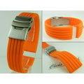 【錶帶家】19mm 20mm 21mm 22mm 可用橘色及多彩不銹鋼單折扣矽膠錶帶膠帶替代Omega,Hamilton