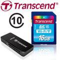 ※贈創見讀卡機※【Transcend 創見】 16GB Wi-Fi WIFI SDHC SD C10 無線分享 記憶卡