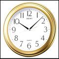 【滾石鐘錶】SEIKO精工 塑膠外殼 金黃色系外框 時尚掛鐘(原廠公司貨)型號:QXA576G/同QXA327G