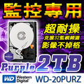 紫標 WD 20PURZ 2TB 3.5吋 SATA6 AllFrame 影音監控 專用 硬碟 適用 DVR 主機