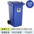 (德國進口WEBER)120公升二輪資源回收拖桶JGM120(藍)☆限量破盤下殺6.1折+分期零利率☆資源回收桶/分類桶/垃圾桶/清潔桶/單分類垃圾桶☆