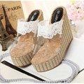【ALicE】Y274-8 南洋編織蕾絲造型竹編楔型涼鞋-白