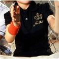 孩子王專櫃NB童裝 運動流行品牌Newbalance 童裝  燙金皇冠logo圖 大女童裝 公主袖有領Polo衫棉上衣 紅、黑、白 3色 120~150公分
