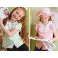 孩子王專櫃童裝~台灣製 微笑機器人 女大童裝 小圓領 公主袖 Polo領上衣 100%棉 粉紅、粉綠 2色 120~170公分