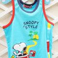 孩子王童裝~ Snoopy史努比品牌童裝.MIT台灣製造 Baby系列 小男童背心.上衣.水藍色彩色線條邊.100%優質棉.吸濕透氣. 80cm~110cm