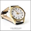 SEIKO精工錶 耀眼金色外框大經典大數字石英腕錶 實用防水100米 柒彩年代【NE867】禮物真皮錶帶