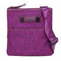 Calvin Klein 紫紅豹紋扁型尼龍休閒斜背包