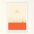 【摩達客】西班牙知名插畫家Judy Kaufmann藝術創作海報掛畫裝飾畫-我愛我的城市(橘紅色)(附Judy本人簽名)(含木框)