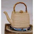 台灣梅山人2002年桃城手捏胚直燒壺作品四方水竹(僅此一把)